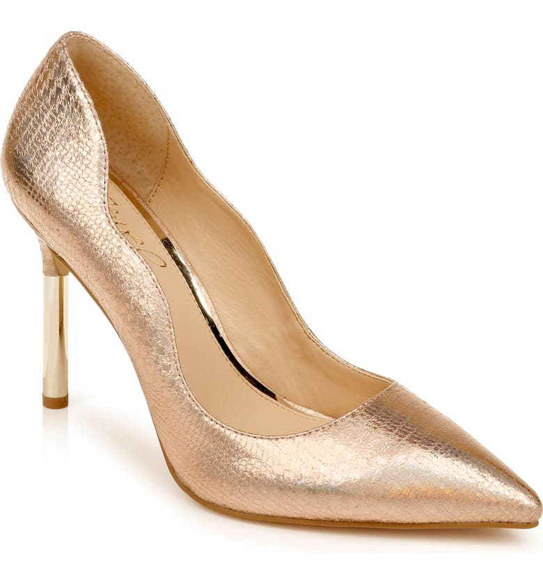 JEWEL BADGLEY MISCHKA Riley Glitter Pointed Toe Pump, Main, color, ROSE GOLD FAUX LEATHER
