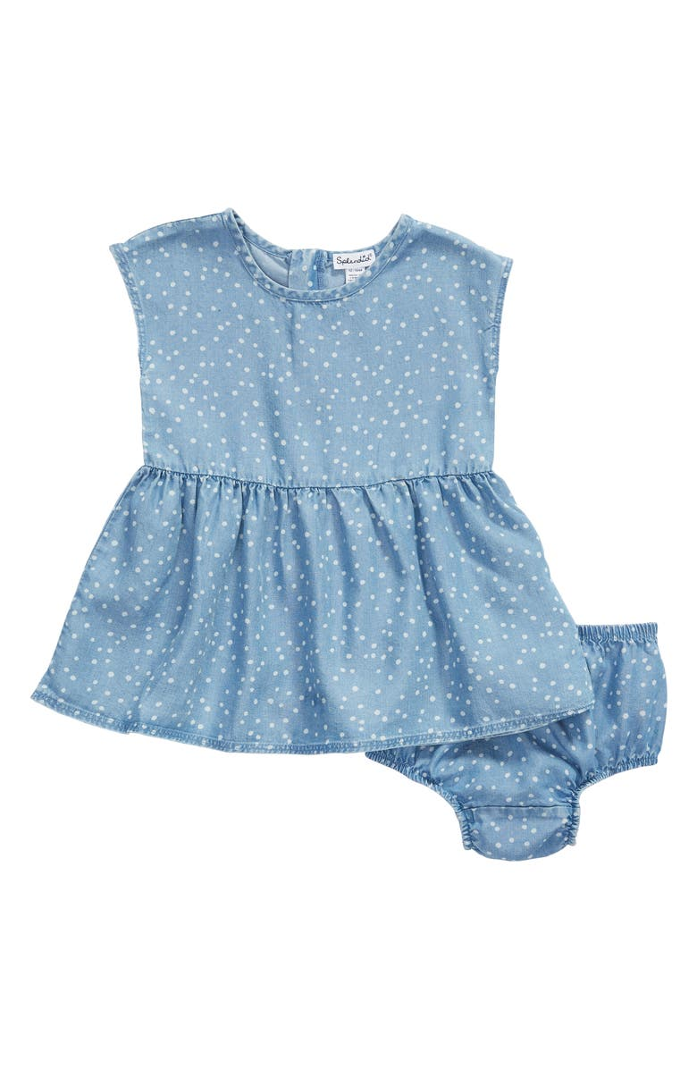 SPLENDID Dot Chambray Dress, Main, color, BLUE