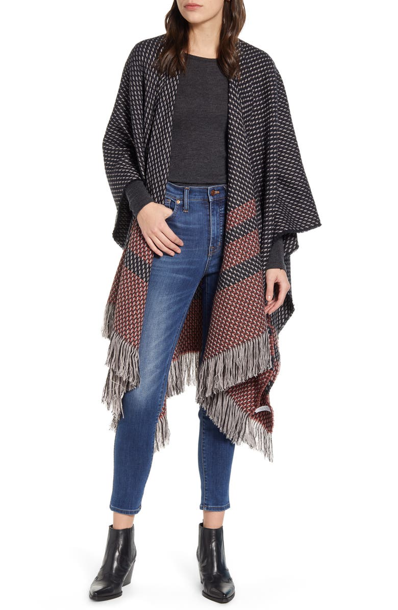 TREASURE & BOND Stitch Stripe Ruana, Main, color, 410