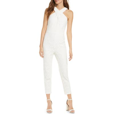 Adelyn Rae Cayden Cross Neck Lace Jumpsuit, White