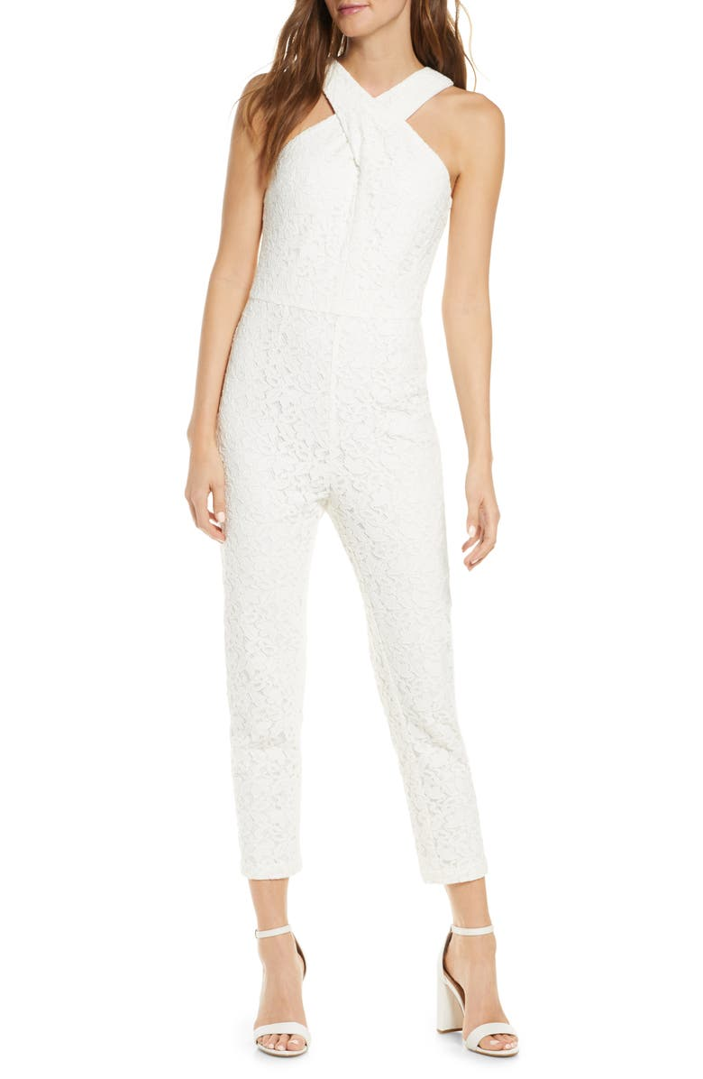 ADELYN RAE Cayden Cross Neck Lace Jumpsuit, Main, color, WHITE