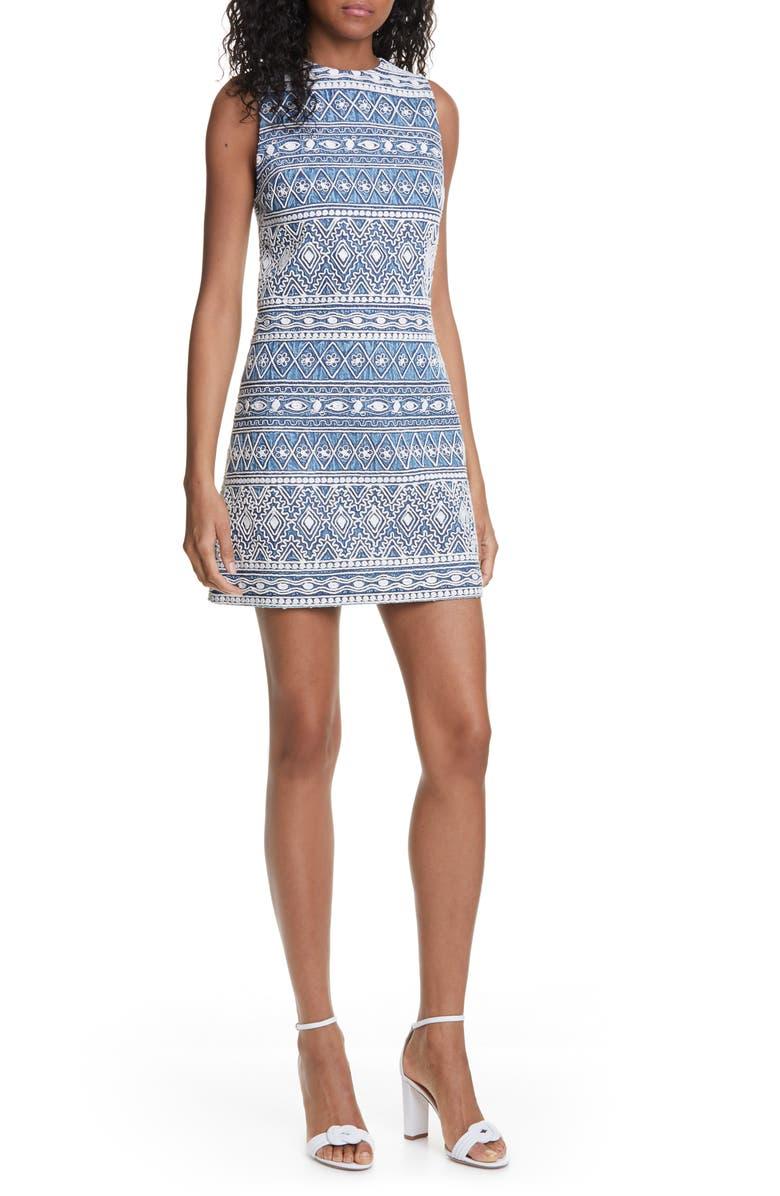 ALICE + OLIVIA Coley Embroidery Sleeveless Sheath Dress, Main, color, CHAMBRAY/ CREAM