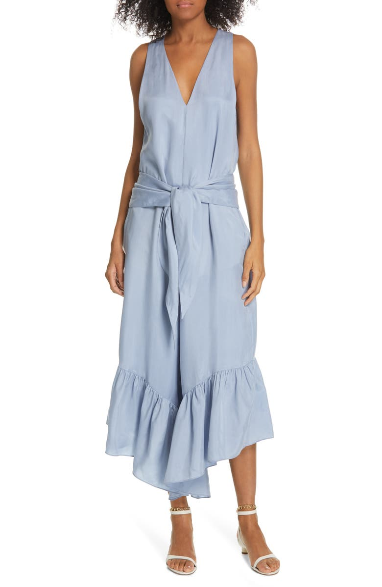 TIBI Ruffle Wide Leg Jumpsuit, Main, color, BLUE GREY
