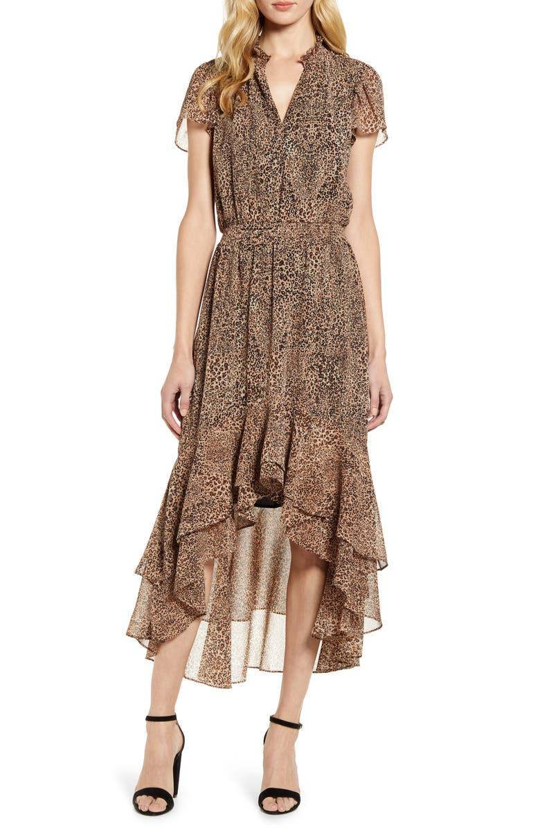 1.STATE Leopard Split Collar High/Low Maxi Dress, Main, color, CARAMEL MULTI