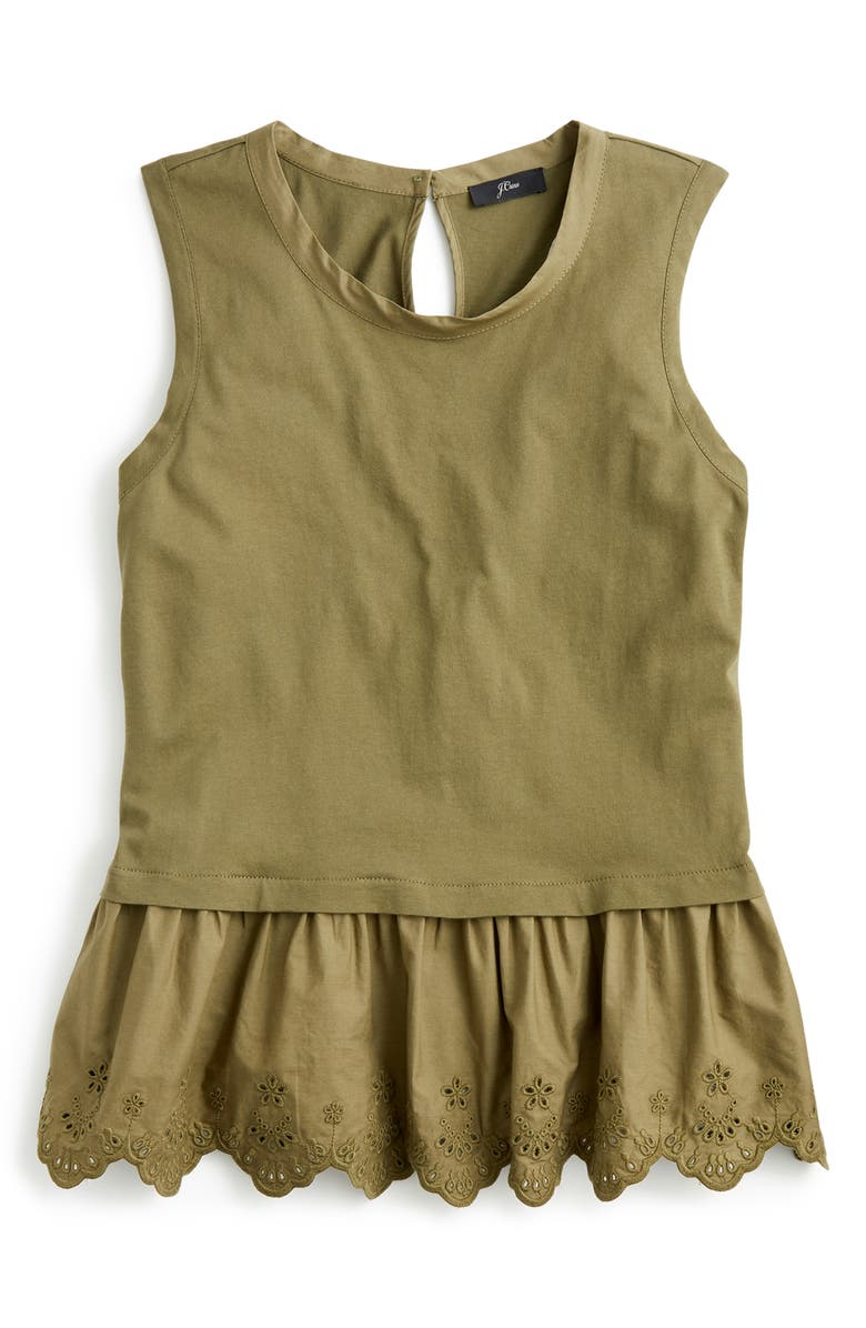 J.CREW Peplum Tulip Back Tank Top, Main, color, FROSTY OLIVE
