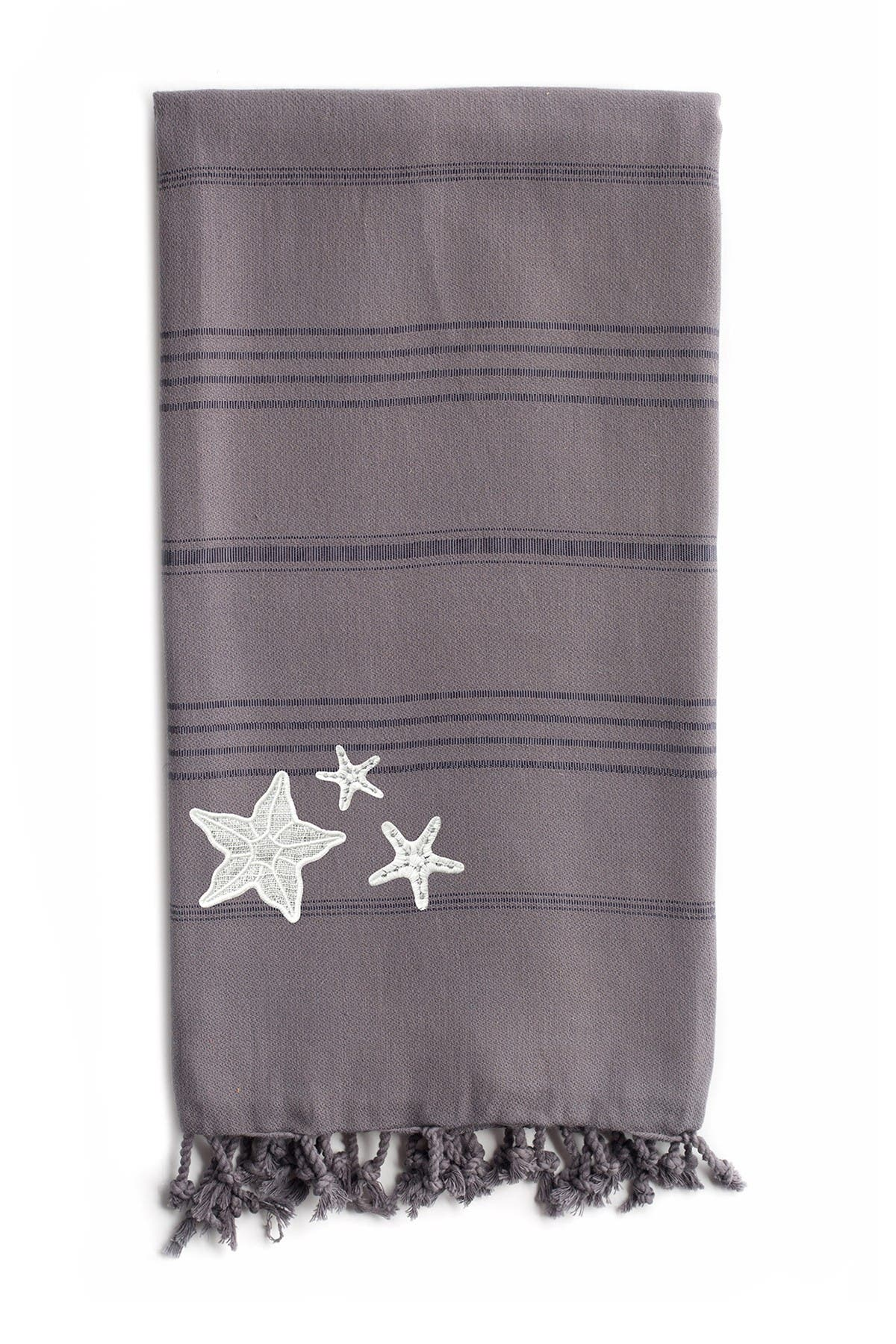 Image of LINUM HOME 100% Turkish Cotton Summer Fun - Glittery Starfish Pestemal Beach Towel - Grey