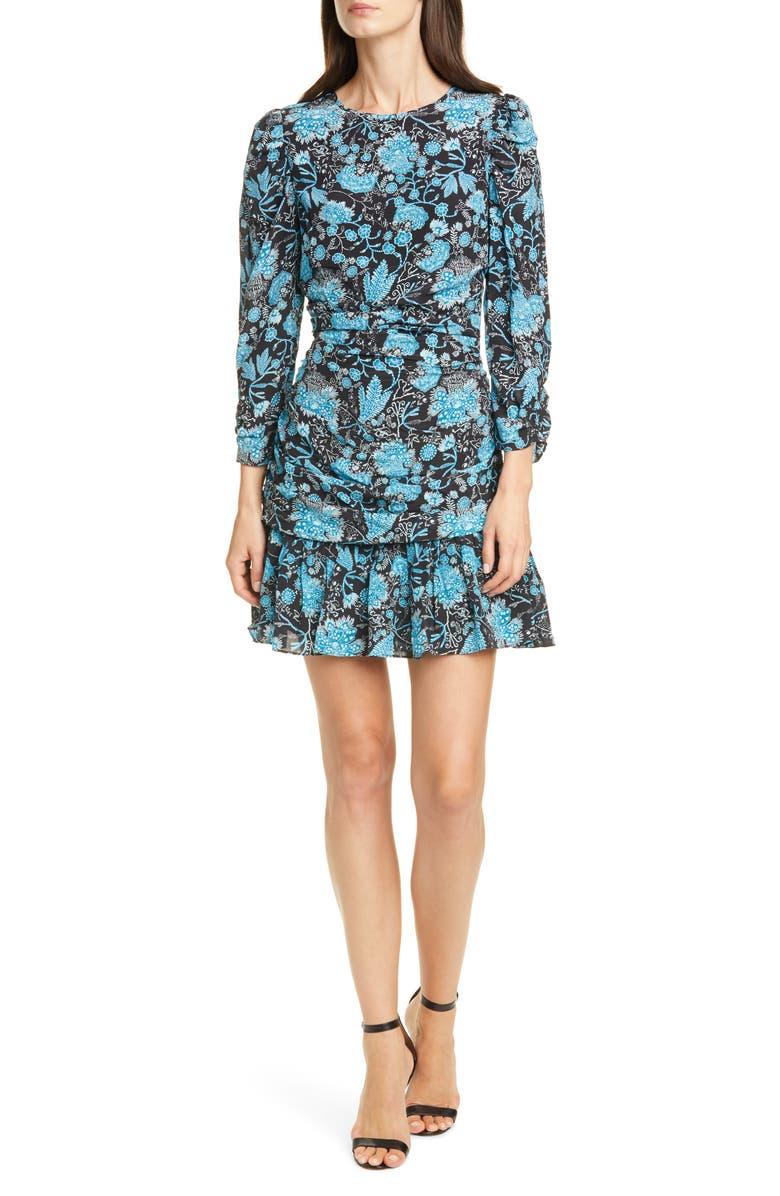 TANYA TAYLOR Raven Floral Silk Minidress, Main, color, PAISLEY - BLUE