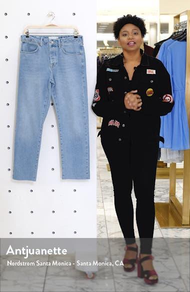 Bleach Straight Leg Raw Hem Dad Jeans, sales video thumbnail