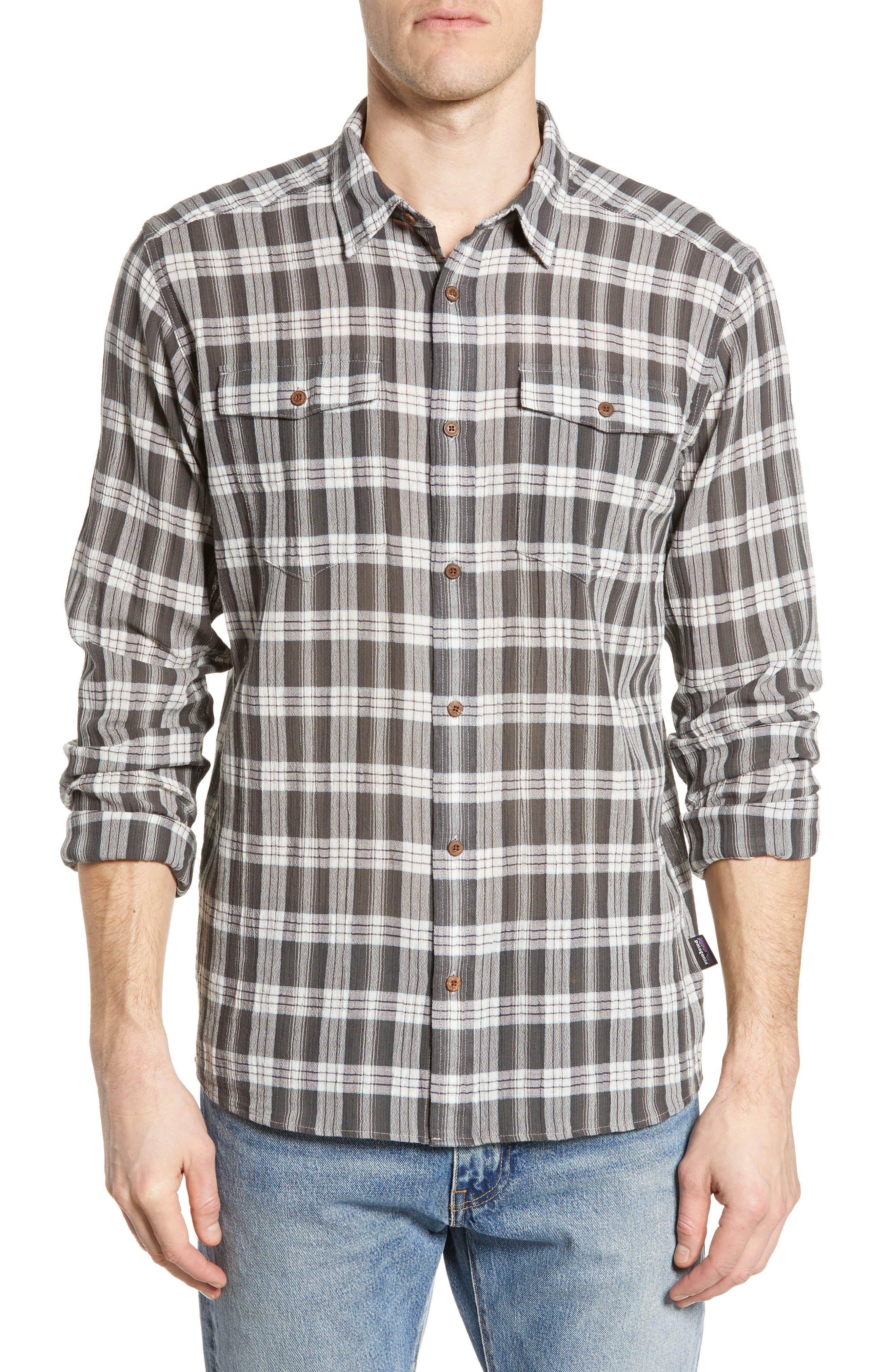 Patagonia Steersman Regular Fit Organic Cotton Sport Shirt, Grey