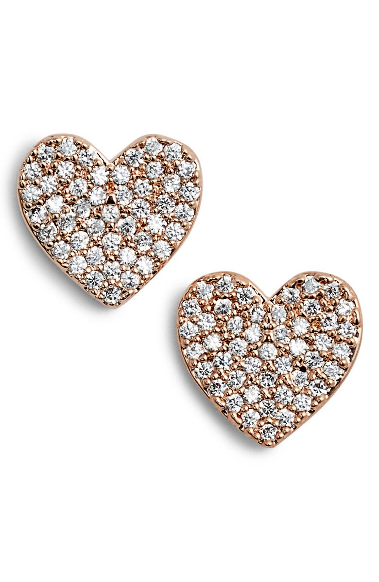 KATE SPADE NEW YORK yours truly pave heart stud earrings, Main, color, ROSE GOLD