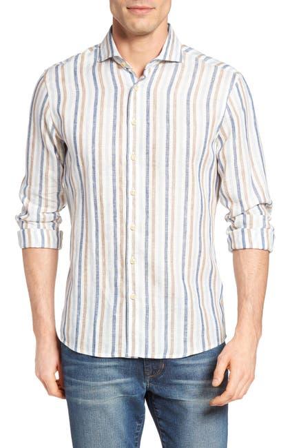 Image of Singer + Sargent Regular Fit Awning Stripe Linen Sport Shirt