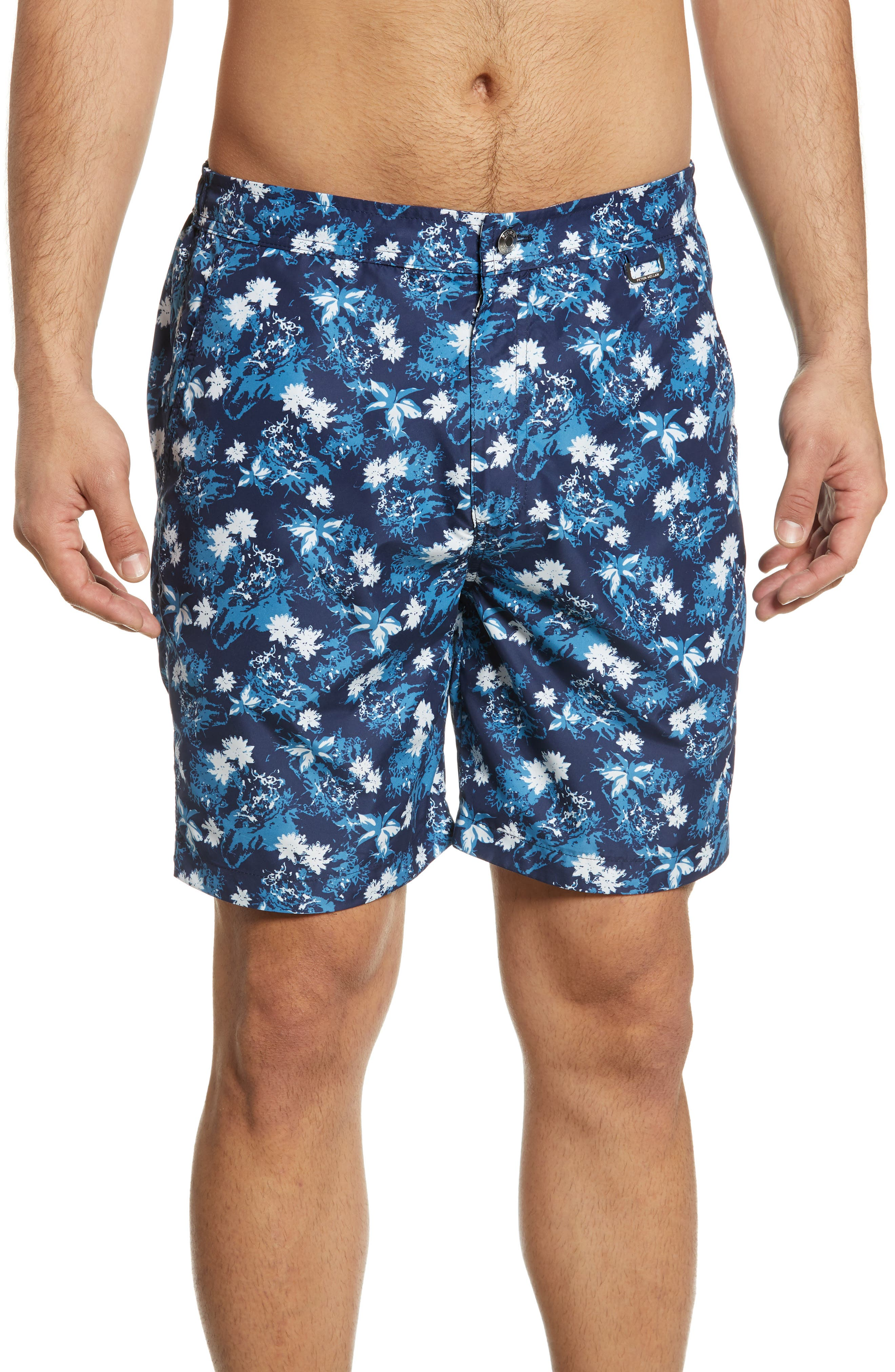 Peter Millar Collection Indigo Floral Swim Trunks, Blue