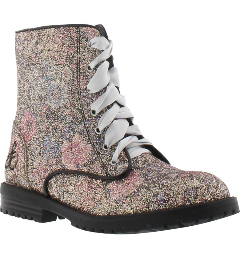 SAM EDELMAN Polly Morgan Glitter Combat Boot, Main, color, BLACK WESTERN FLORAL