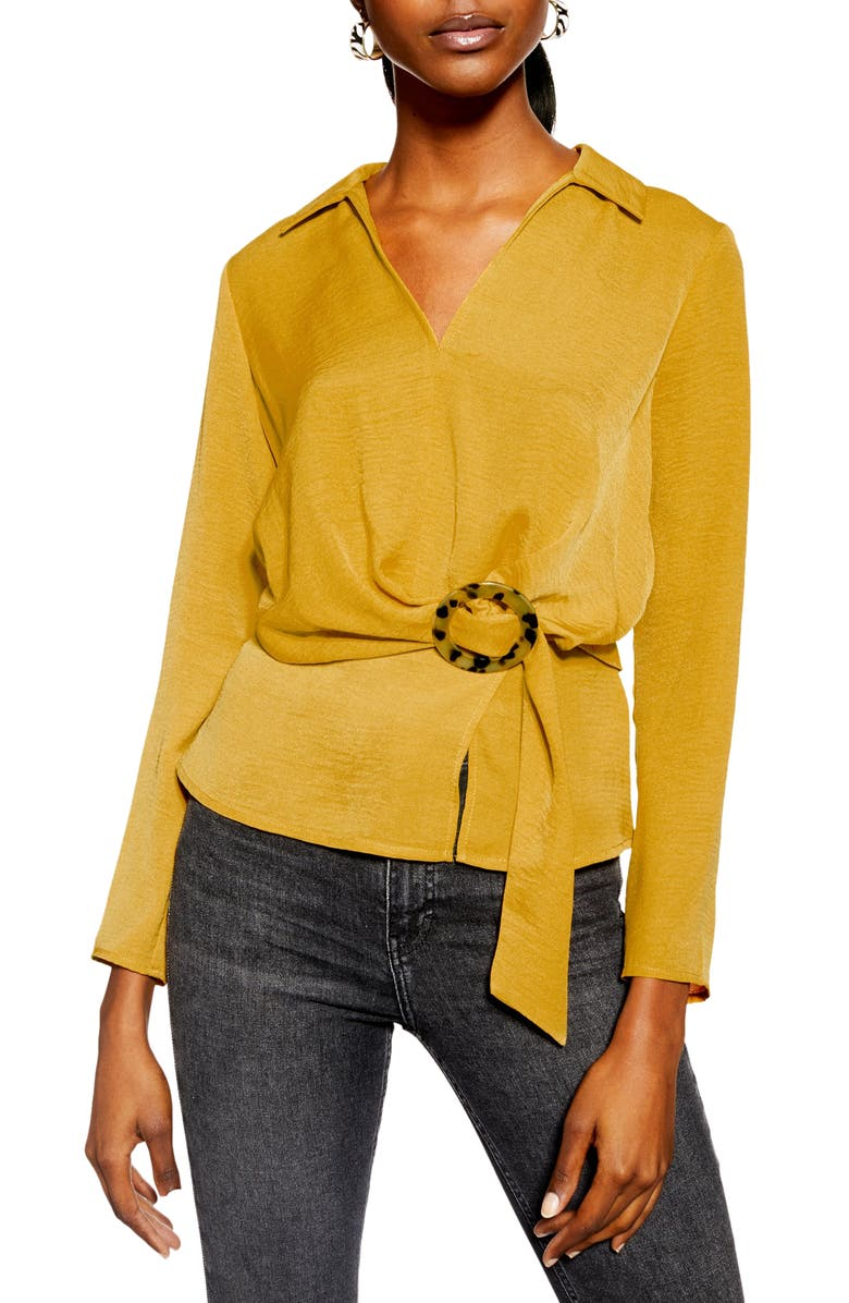 TOPSHOP Tortoise Buckle Collar Blouse, Main, color, MUSTARD
