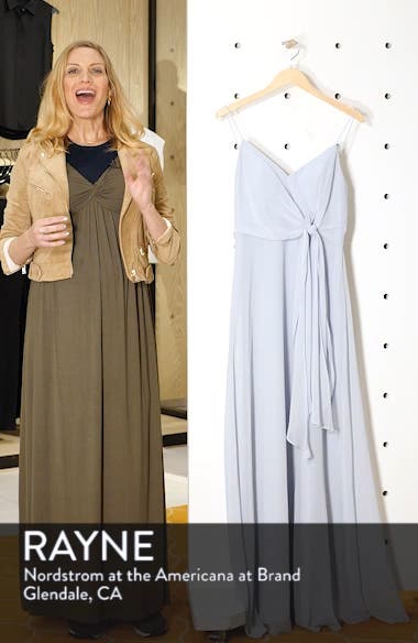Amara Chiffon Overlay V-Neck Evening Dress, sales video thumbnail
