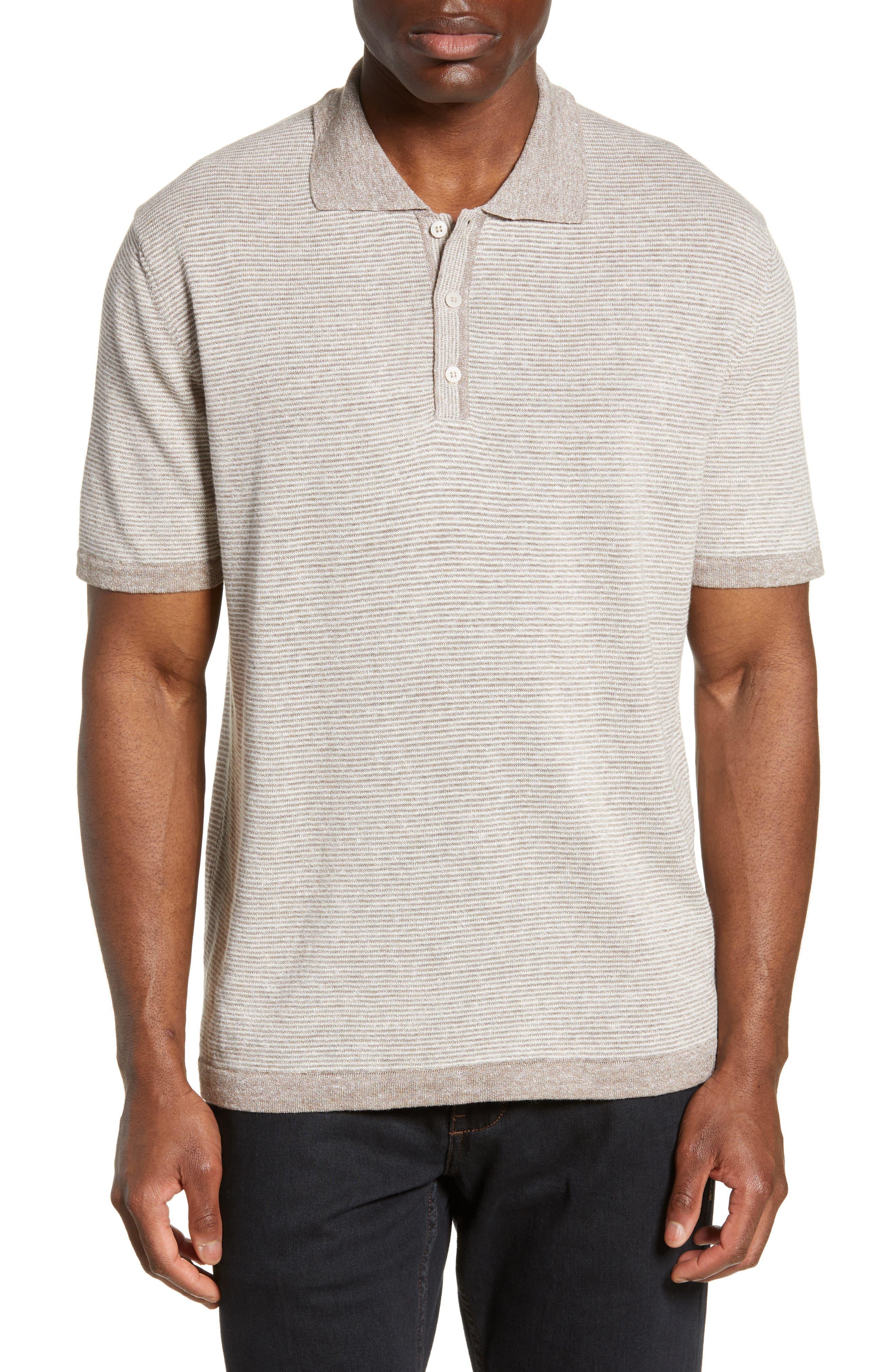 men's bugatchi stripe cotton & linen polo sweater, size x-large - brown