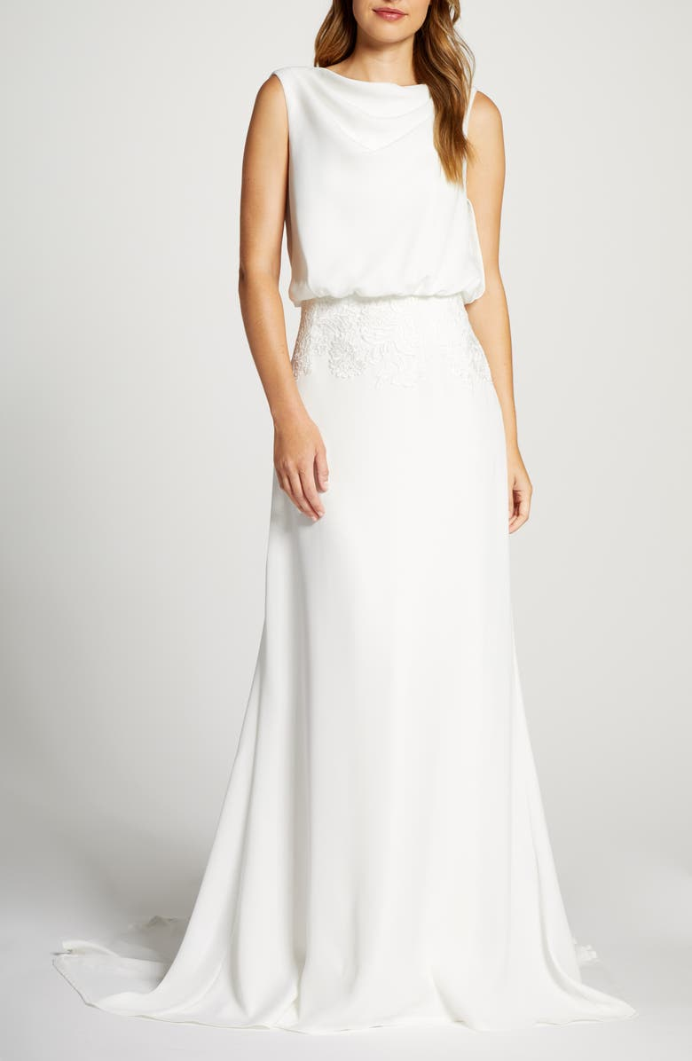 TADASHI SHOJI Blouson Crepe Wedding Dress, Main, color, IVORY