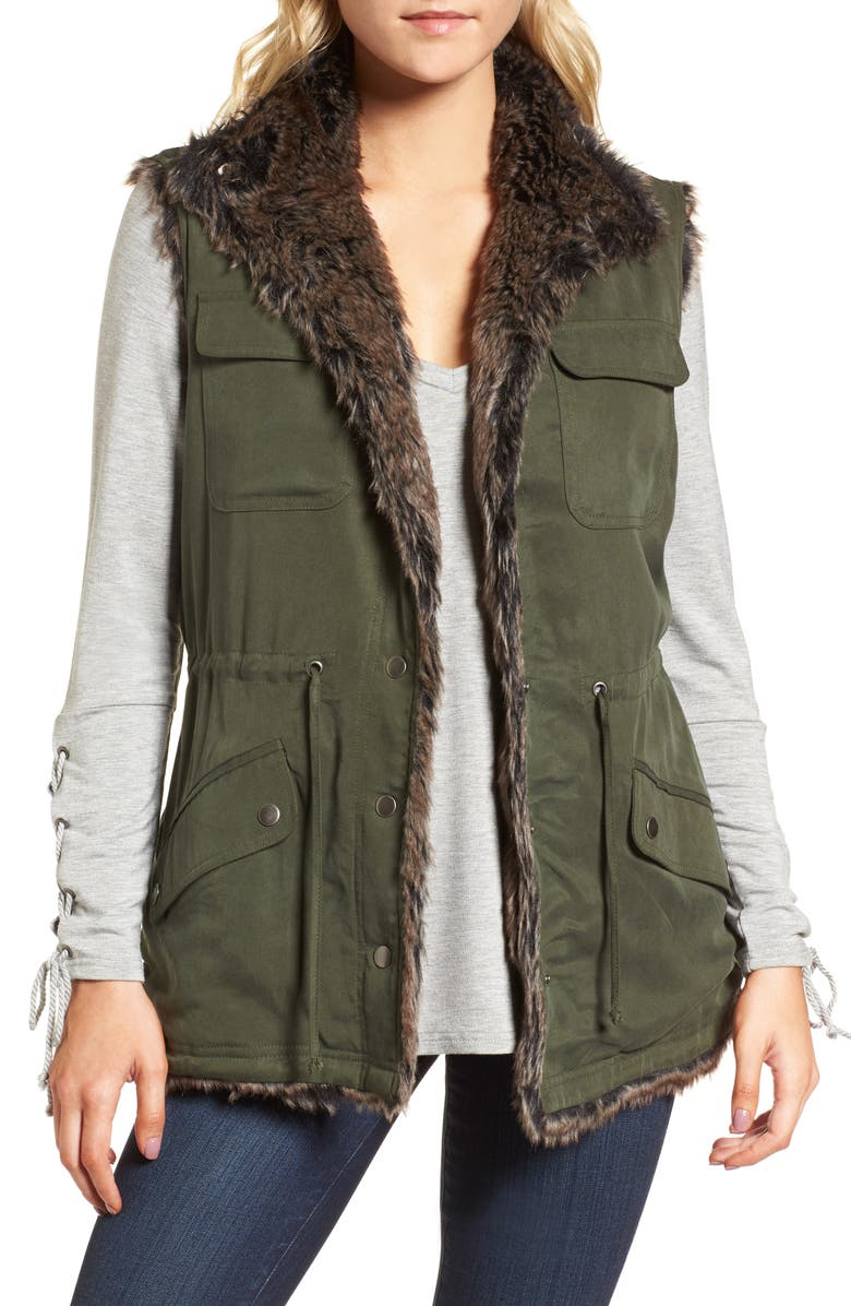 CUPCAKES AND CASHMERE Ashling Faux Fur Lined Utility Vest, Main, color, 310