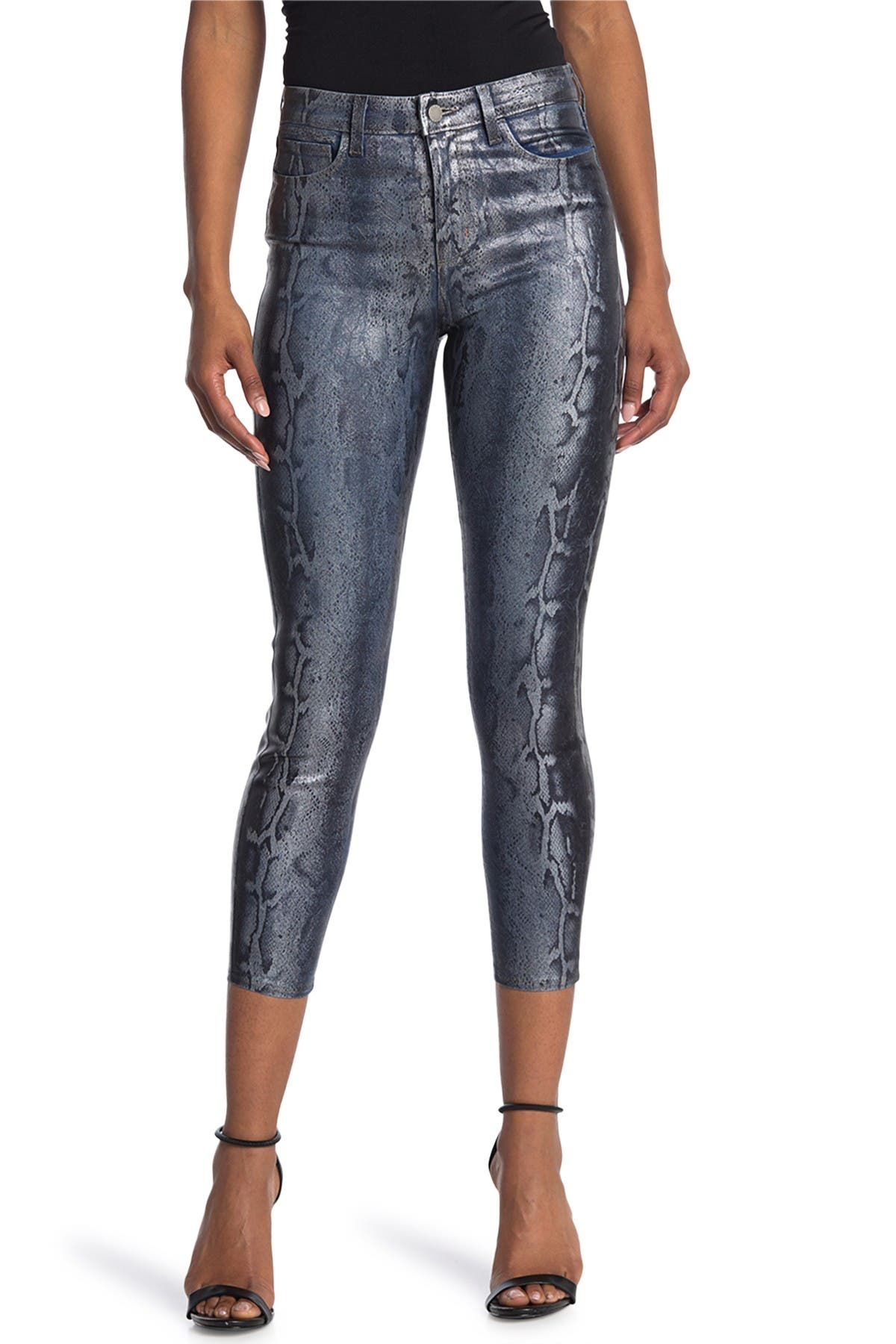 Image of L'AGENCE Margot Coated Snakeskin Print Skinny Jeans