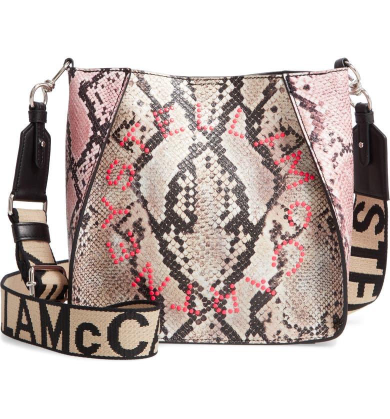 STELLA MCCARTNEY Mini Snake Print Faux Leather Crossbody Bag, Main, color, PINK MULTI