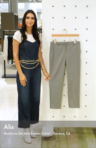 Textured Check Crop Wool Blend Trousers, sales video thumbnail