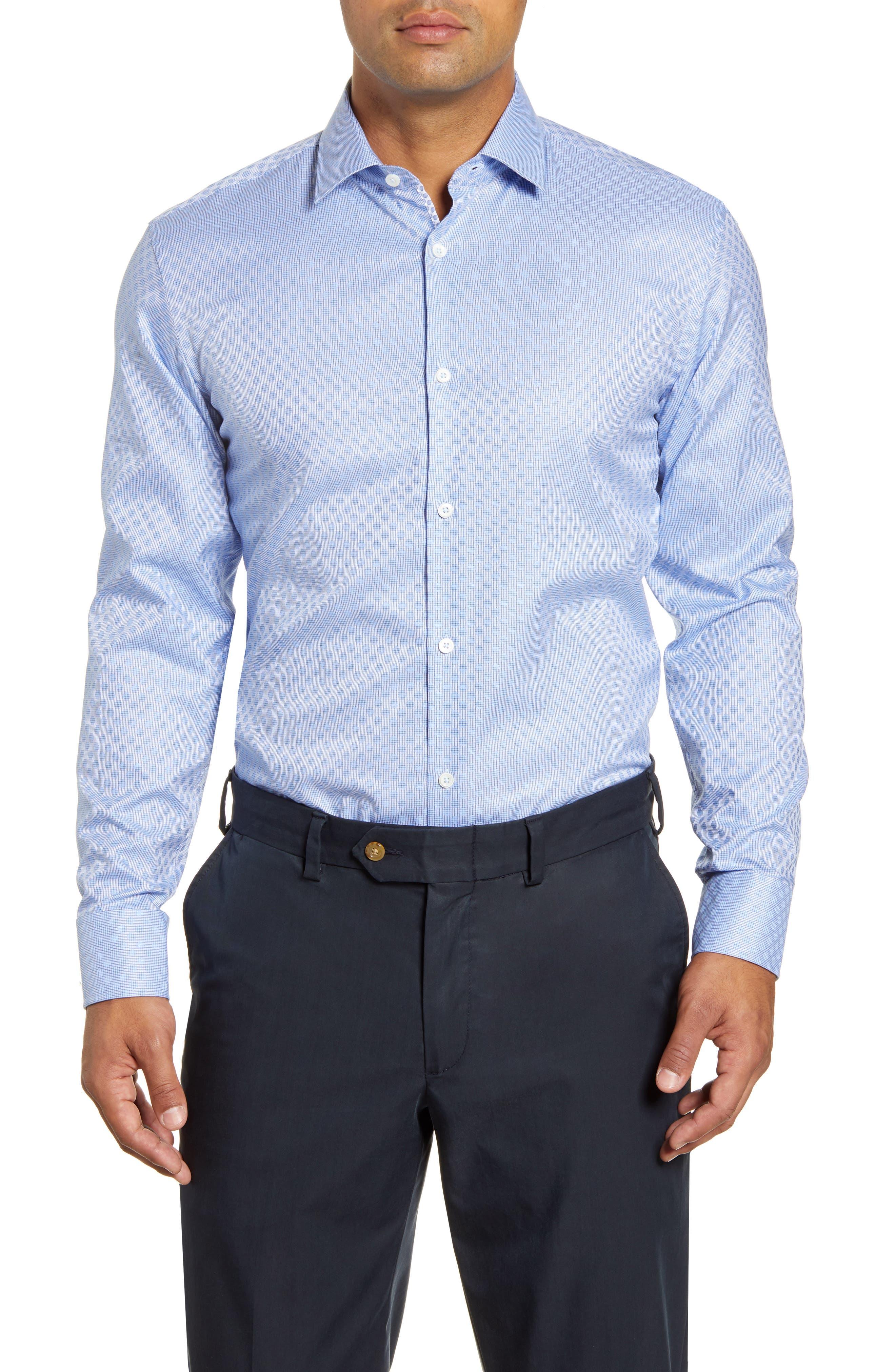 men's big & tall bugatchi trim fit pattern dress shirt, size 18 - blue