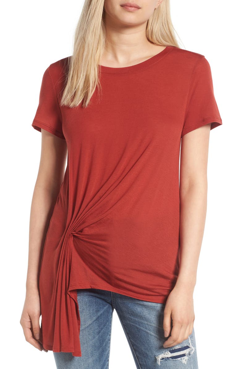 TREASURE & BOND Gathered Pleat Front Tee, Main, color, 600