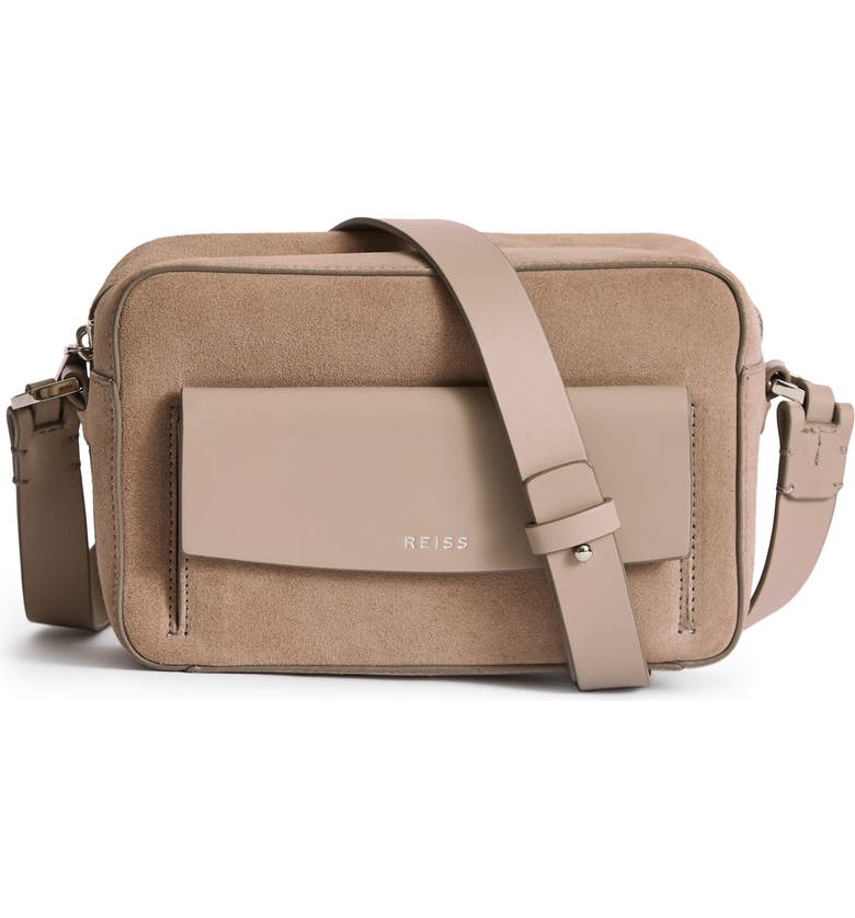 REISS Archie Leather Crossbody Bag, Main, color, 020