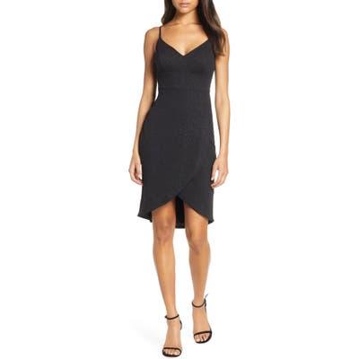 Eliza J Tulip Hem Glitter Cocktail Dress, Black