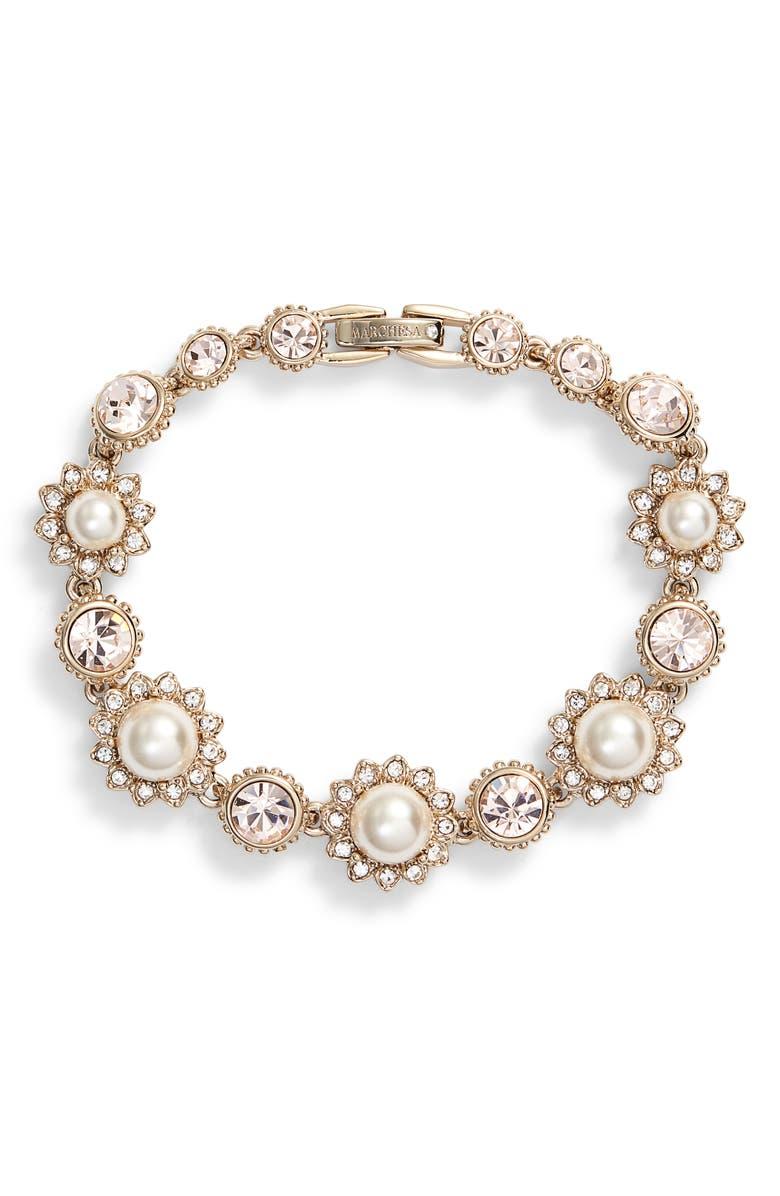 Imitation Pearl Line Bracelet by Marchesa