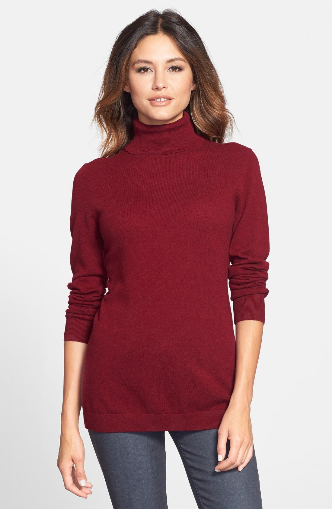 ,                             Long Cashmere Turtleneck Sweater,                             Main thumbnail 49, color,                             930