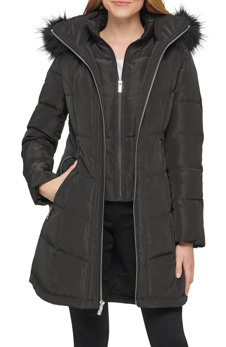 KARL LAGERFELD PARIS Chevron Puffer Coat, Main, color, BLACK