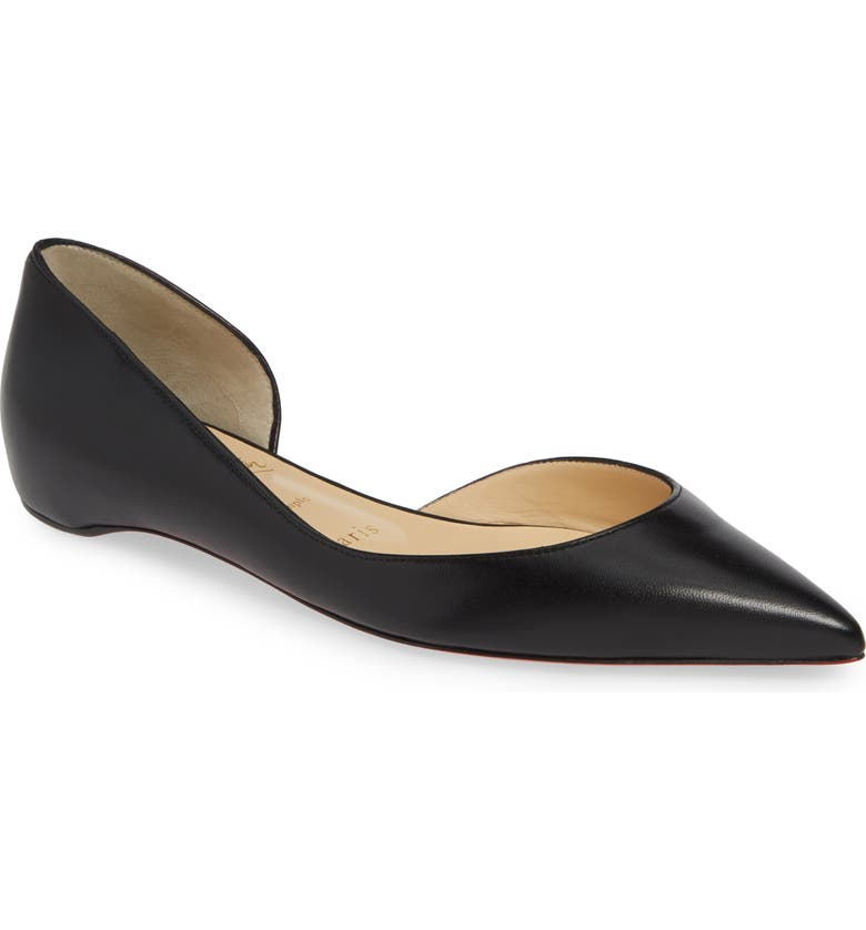CHRISTIAN LOUBOUTIN Iriza Half d'Orsay Flat, Main, color, BLACK