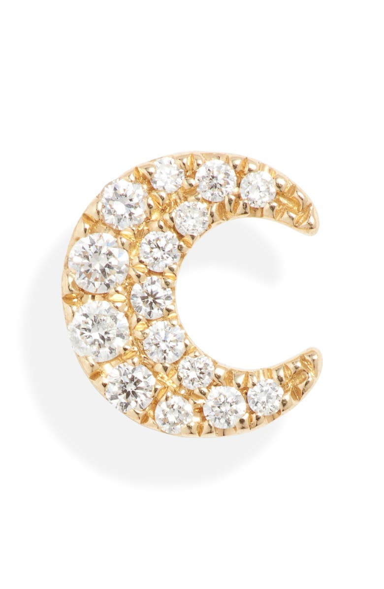 MARIA TASH Diamond Moon Stud Earring, Main, color, YELLOW GOLD