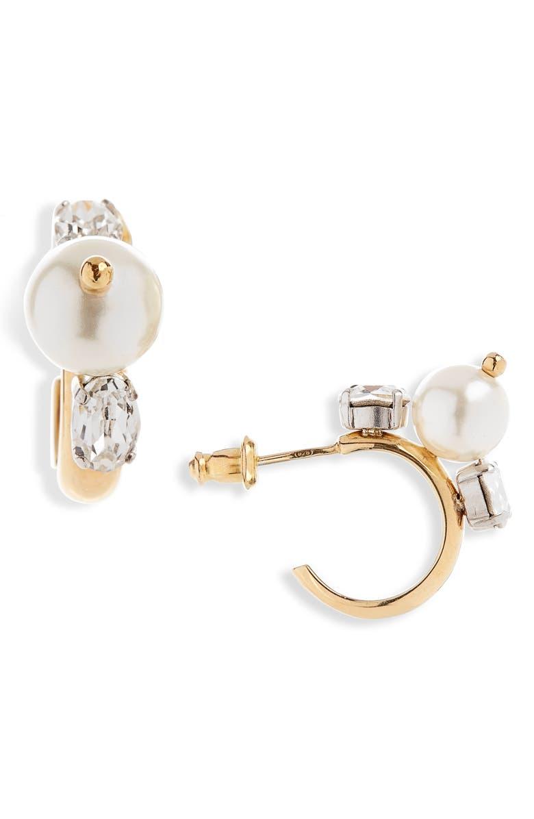 SIMONE ROCHA Crystal & Imitation Pearl Hoop Earrings, Main, color, 100