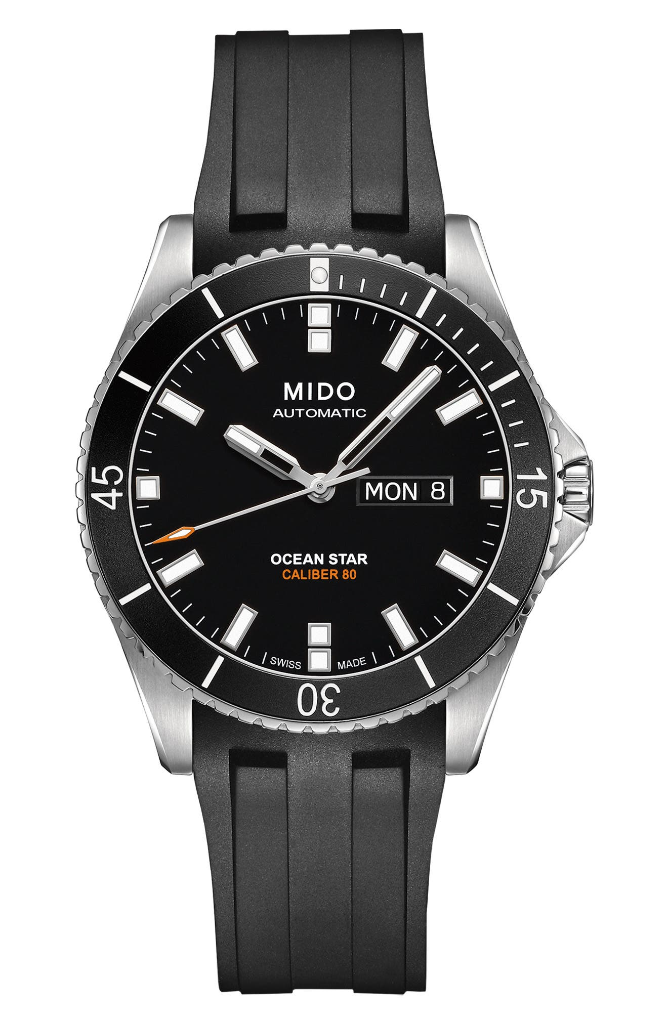 Ocean Star 200 Automatic Rubber Strap Watch