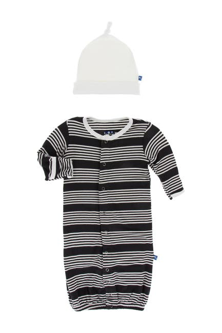 Image of KicKee Pants Print Layette Gown Converter & Knot Hat Set in Zebra Agriculture Stripe