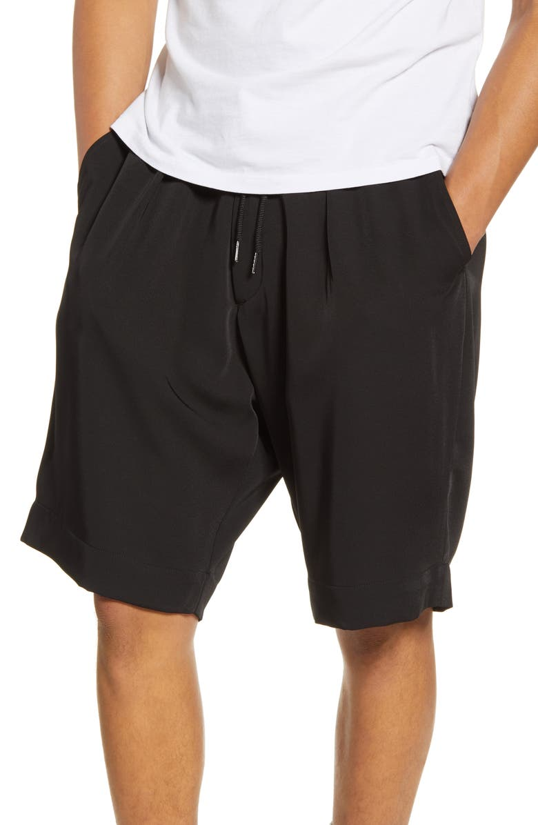 DRIFTER Laurie Drawstring Twill Shorts, Main, color, BLACK