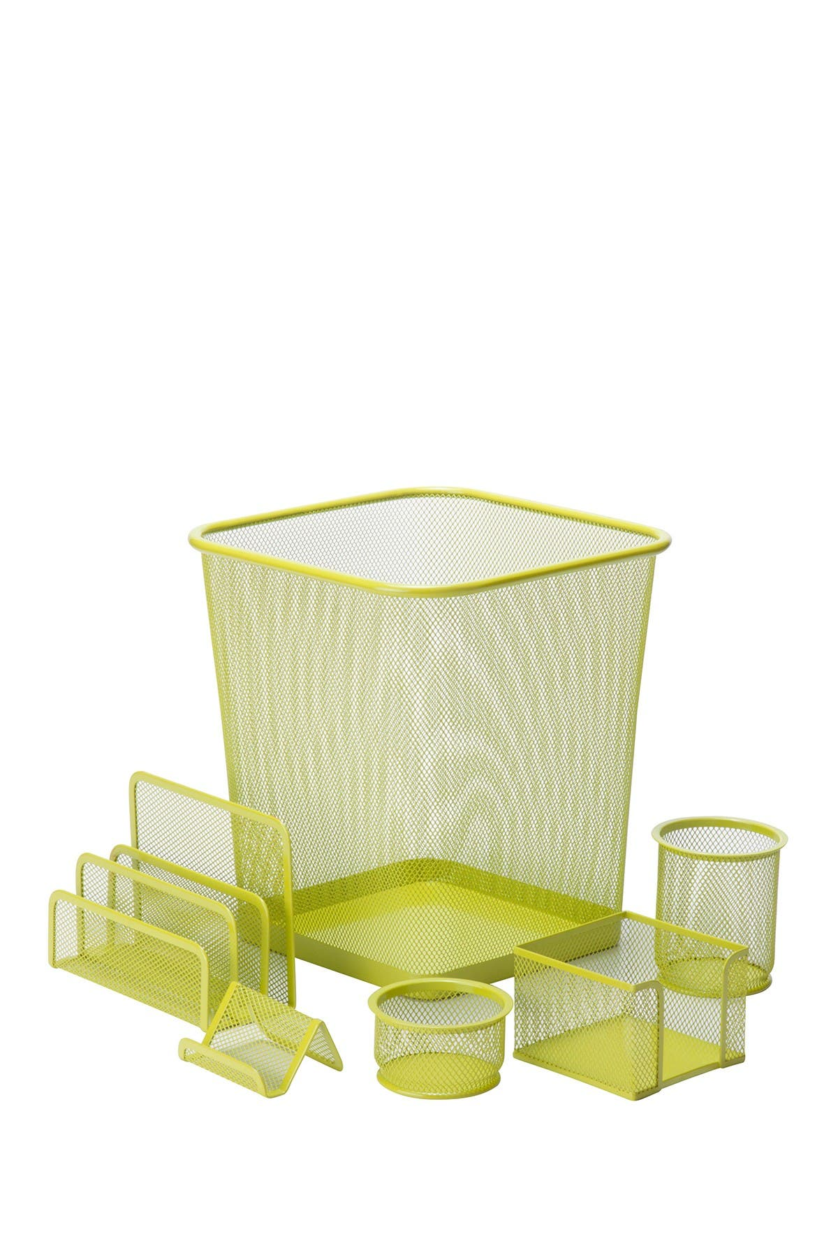 Image of Honey-Can-Do Lime 6-Piece Steel Mesh Desk Set