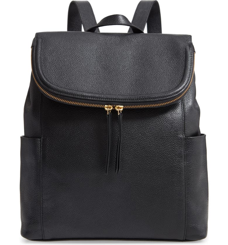 NORDSTROM Reah Leather Backpack, Main, color, BLACK