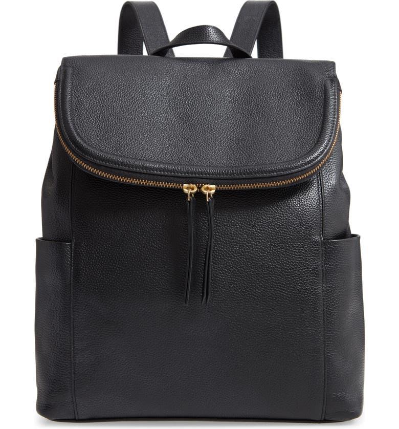 NORDSTROM Reah Leather Backpack, Main, color, 001