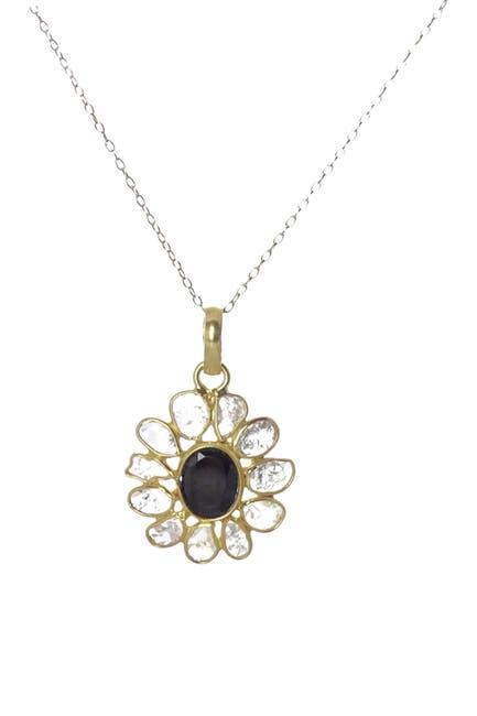 Image of Savvy Cie 18K Gold Vermeil Sliced Diamond & Black Spinel Pendant Necklace - 0.75 ctw
