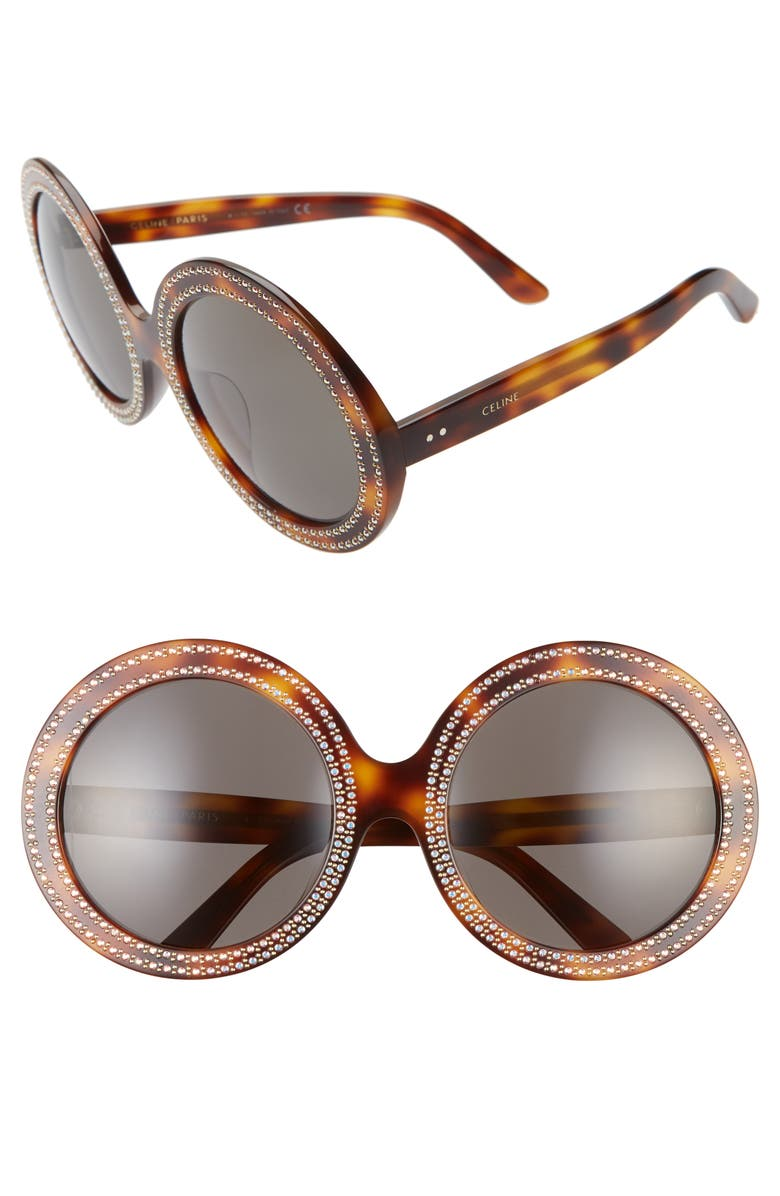 CELINE 61mm Studded Round Sunglasses, Main, color, BLONDE HAVANA/ SMOKE