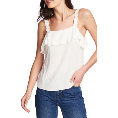 1.state Ruched Strap Flounce Edge Camisole, White
