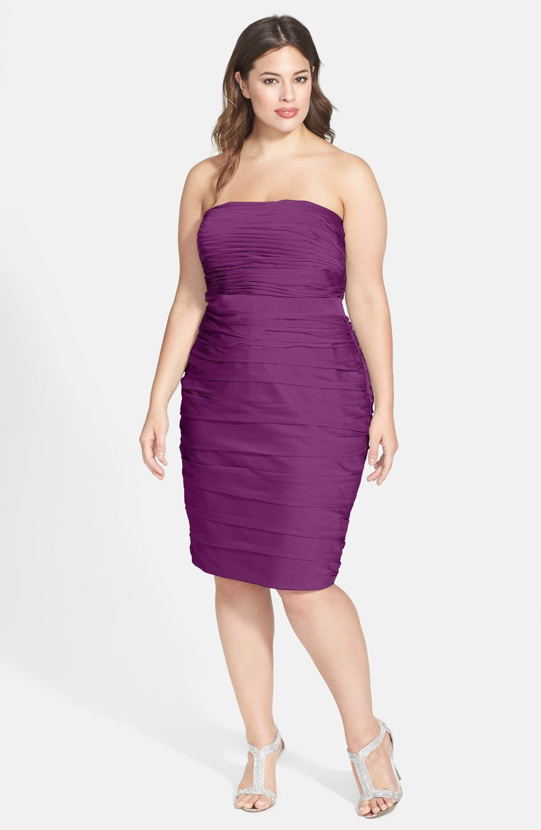 ,                             Ruched Strapless Cationic Chiffon Dress,                             Alternate thumbnail 51, color,                             500