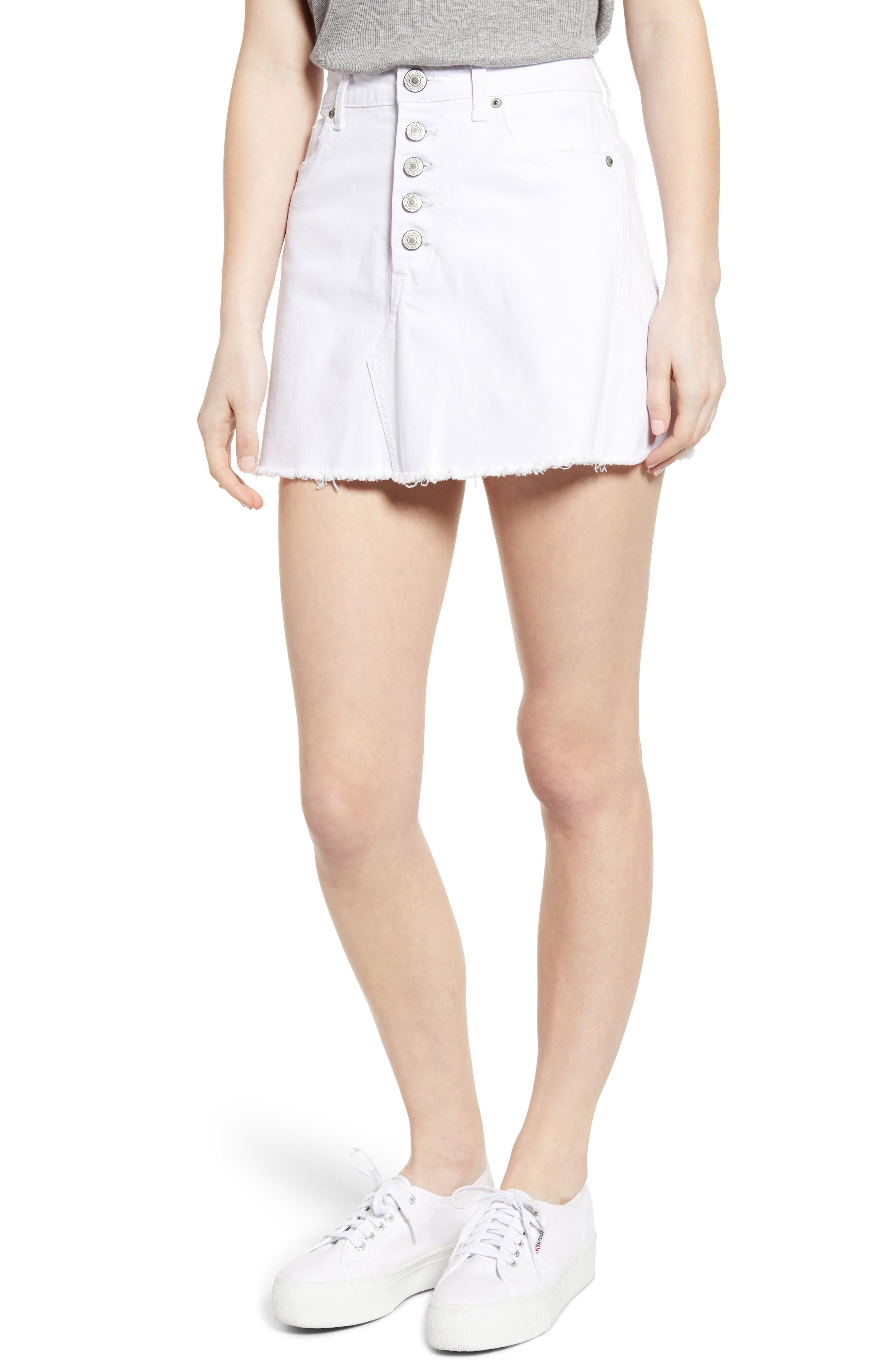 Sts Blue Emily Button Fly Denim Miniskirt, White