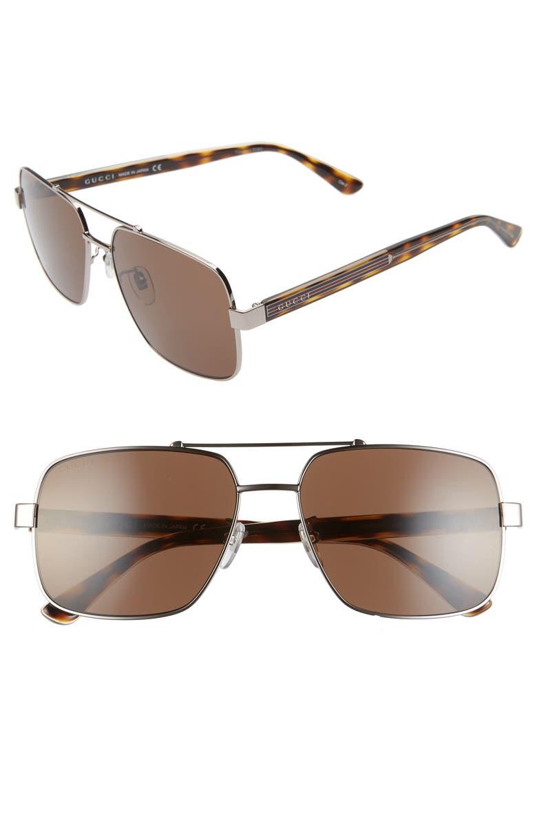 GUCCI 60mm Navigator Sunglasses, Main, color, SHINY RUTHENIUM