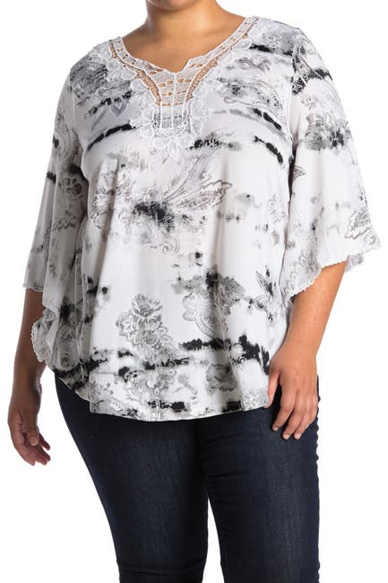 Image of STEM AND VINE Tie Dye Lace Notched Neck Top