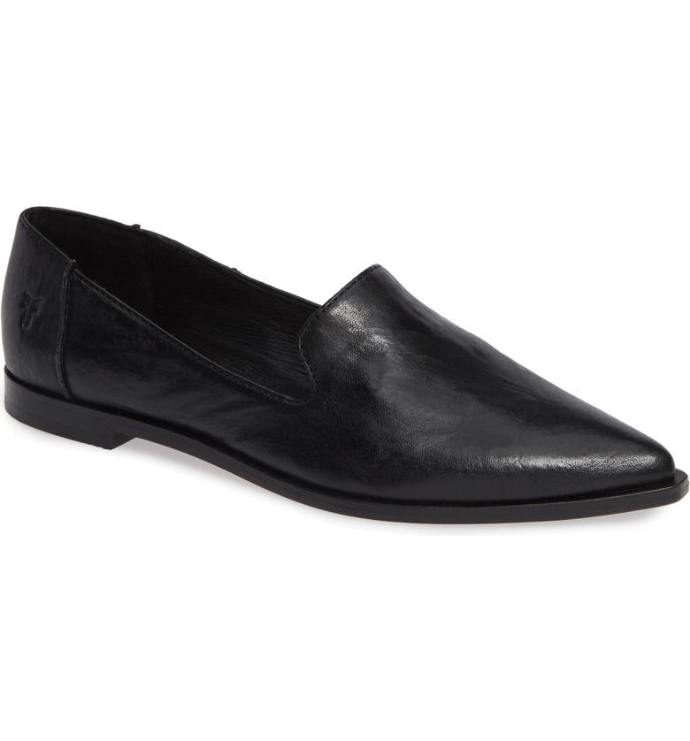 FRYE Kenzie Venetian Flat, Main, color, BLACK LEATHER