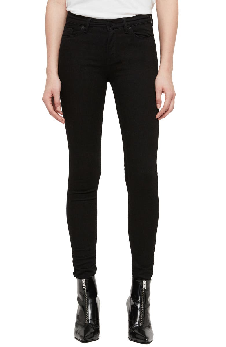 ALLSAINTS Grace Skinny Jeans, Main, color, JET BLACK